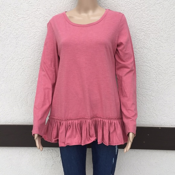 LOGO small pink tunic with ruffle hem